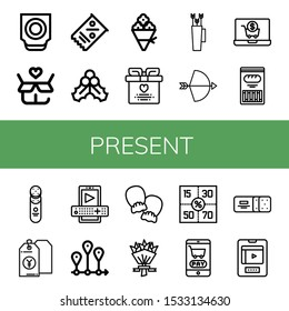 Set of present icons. Such as Trackball, Gift, Coupon, Mistletoe, Flower bouquet, Wedding gift, Bow, Shopping cart, Cracker, Price tag, Entertainment, Timeline , present icons