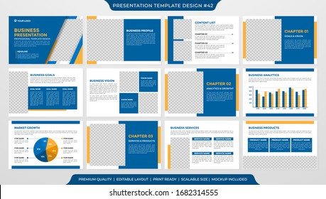 set of presentation template design with minimalist style and modern concept layout use for annual report and business profile