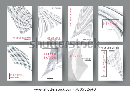 set presentation templates minimal cover designs stock vector