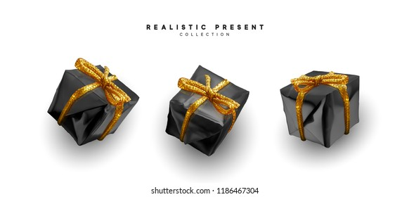 Set presents. Black gift boxes realistic design. Isolated on white background