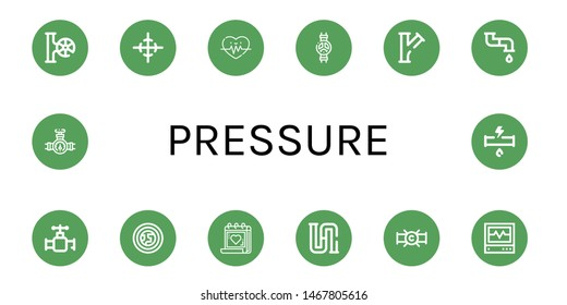 Set of pressure icons such as Valve, Center of gravity, Heart rate, Pipe, Atmosphere, Medical appointment, Piping, Icu, Broken pipe , pressure