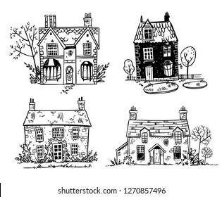 Set of pretty English cottages, vector drawing