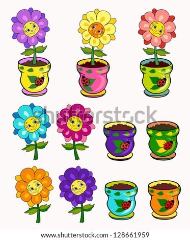 Set Pretty Flowers Pots Flowers Smiling Stock Vector Royalty Free