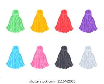 Set of pretty multi-colored tassels on a white background. Vector image