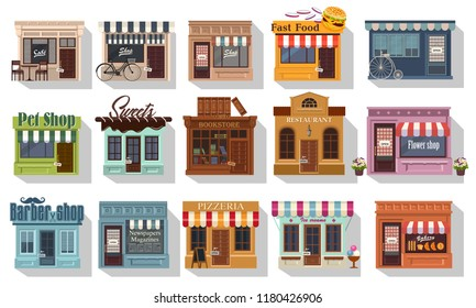 Set of pretty shops. Illustration of set of cute little shops and restaurants or boutiques. Cafe bistro and little shops. Big icon set on flat style