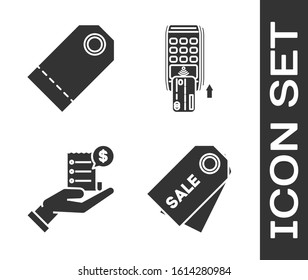 Set Price tag with an inscription Sale, Blank label template price tag, Human hand holding with blank receipt or bill for payment and Pos terminal with inserted credit card icon. Vector