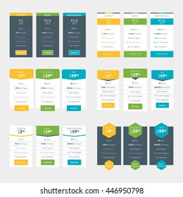 collection coloful pricing table design templates stock vector