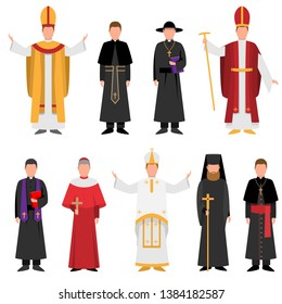 Set of priest of catholic or christian religion in different clothes