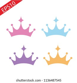 Set of princess crowns Tiara isolated on white. Vector illustration. eps 10