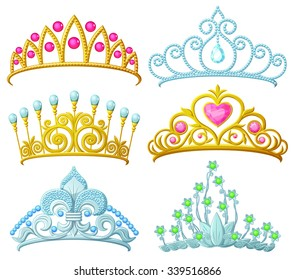 Set of princess crowns (Tiara) isolated on white. Vector illustration.