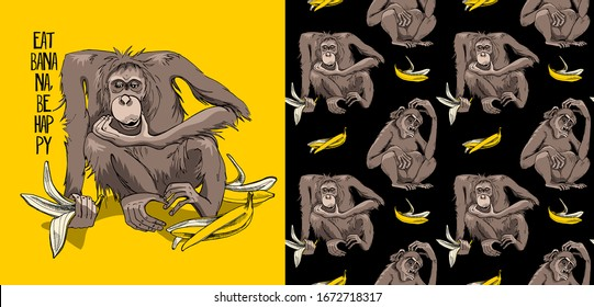 Set of print and seamless wallpaper pattern. Cute Monkey with the banana skins. Funny Cartoon Characters. Textile composition, t-shirt design, hand drawn style print. Vector illustration.