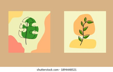 Set printable art designs leaf organic, botanical, ecology