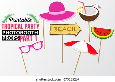 Set of printable tropical party photo booth props inspired by summer, sunshine and cruise vacations. Umbrella, watermelon, coconut juice, hat and sign beach vector elements.