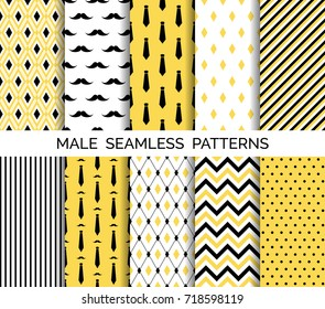 Set of printable vector male seamless patterns. Wrapping paper, wallpaper, fashion print design. Black and yellow neckties, mustaches, chevron