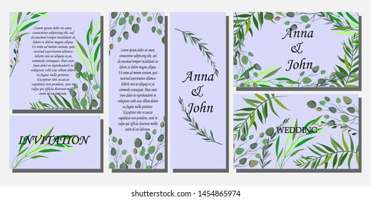 set of printed products for the wedding, invitations, greetings, cards, with elements of plants and flowers in a romantic style