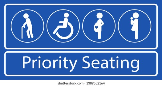 set of priority seating sticker or label, for mass rapid transit or other public transportation. easy to modify