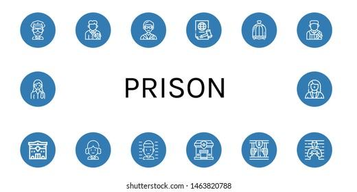 Set of prison icons such as Cop, Lawyer, Justice, Bird cage, Judge, Police station, Prisoner, Prison , prison