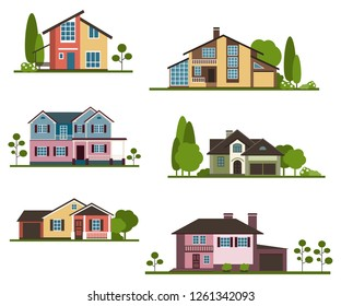 Set private houses in flat design style. Colorful residential  houses and trees.