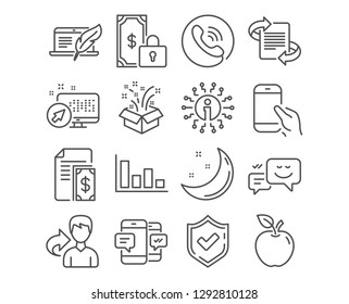 Set of Private payment, Gift and Happy emotion icons. Histogram, Marketing and Hold smartphone signs. Payment, Copyright laptop and Smartphone sms symbols. Secure finance, New year, Web chat. Vector