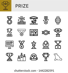 Set of prize icons such as Award, Medal, Bonus, Merry go round, Kneepad, Trophy, Certificate, Rank, Seal , prize