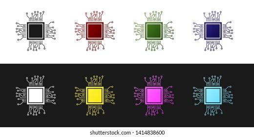 Set Processor icon isolated on black and white background. CPU, central processing unit, microchip, microcircuit, computer processor, chip. Vector Illustration