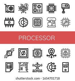 Set of processor icons. Such as Video card, Rom, Microchip, Artificial intelligence, Motherboard, Cpu, Mixer, Electric mixer, Chip, Spreadsheet, Backdrop, Technology , processor icons