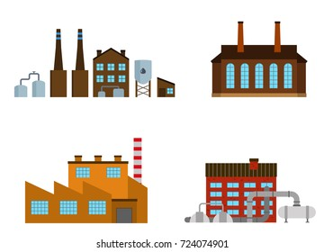 Set of production industrial building isolated on white background. Factory in the flat style. Manufacturing power building. Vector illustration.