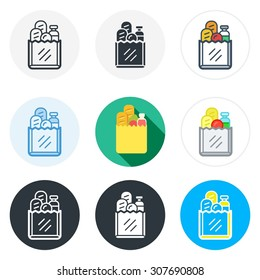 Set of products bag icons in different styles isolated on white background.