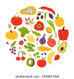 A set of products in a circle, healthy food. Fruits, vegetables and nuts. Cartoon flat vector illustration isolated on white background.