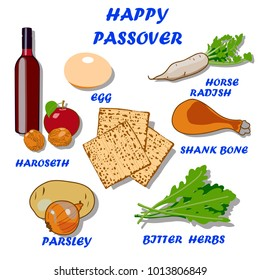 Set of products for passover seder plate. Bright colored hand drawn vector illustration can be used for invitations, cards, banners and other things