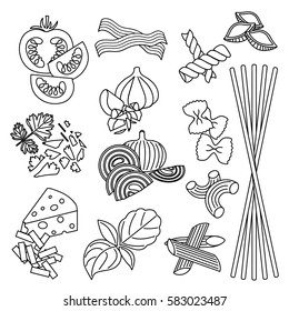 Set products. Seamless pattern. Pasta and vegetables. Ready-made ingredients. Black and white. Parsley, basil, bacon, onion, garlic, cheese, pasta.