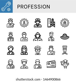Set of profession icons such as Wrench, Policeman, User, Supervisor, Flight attendant, Firewoman, Nurse, Sun hat, Doctor, Cop, Chef, Pharmacist, Shoemaker, Member card , profession