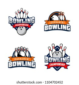 Set of professional bowling club badge logo design. Isolated sports association vector illustration collection
