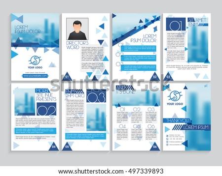 set professional brochure template cover design stock vector