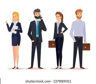 set professional businesspeople with documents and briefcase