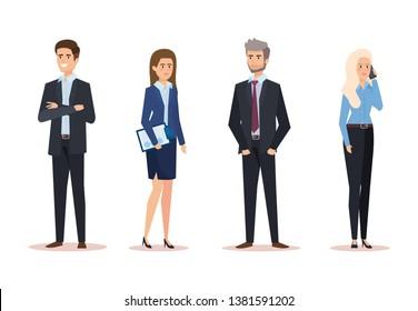 set professional businesswomen and businessmen corporative finance