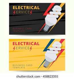 Electrician business card stock vectors images vector art set of professional electrician business card template vector electrical services engineer background design for poster reheart Image collections