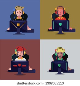 Set of professional gamer playing video game on computer. E sport player. Vector illustration