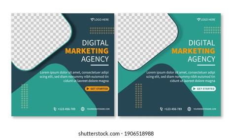 Set of Professional general business digital marketing agency social media post template collection. online web promotion banner concept design