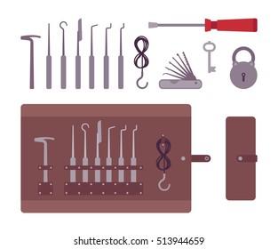 Set of professional lockpicks isolated against white background. Cartoon vector flat-style illustration