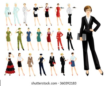 Set of professional people isolated on white background. Woman in uniform.