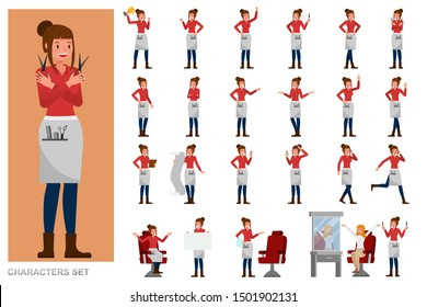 Set of Professional Women Stylist people working character vector design. Presentation in various action with emotions, running, standing and walking.