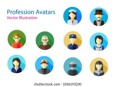 Set of Professions avatars icon . Set of Avatar Icon with long shadow on color round. vecor illustration on white background.