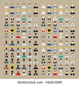 A set of professions people. Circle flat style icons. Occupation avatar. Business, medical, web, call center operator, workers. Vector illustration