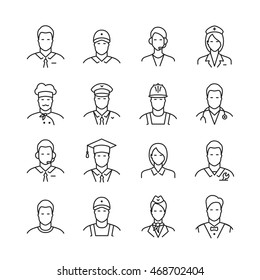 A set of professions people. Flat style line icons. Occupation avatar. Business, medical, web, call center operator, workers. Vector illustration