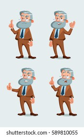 Set of professor characters poses.  Vector illustration of funny academic with glasses and beard. The teacher showing ok sign, thumb up and attention hand gesture