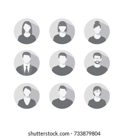 Set of profile icons for men and women
