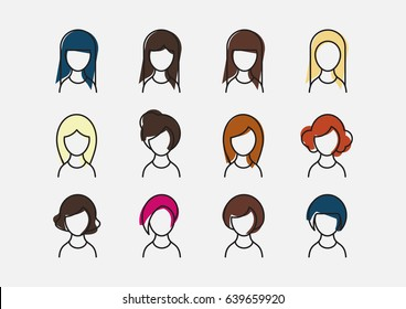 Set of profile picture icons of women with beautiful hairstyles in color