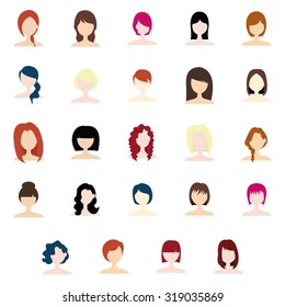 Set of profile pictures of women with beautiful hairstyles