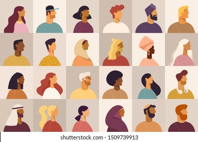 Set of profile portraits or heads of male and female cartoon characters. Various nationality. Blond, brunet, redhead, african american, asian, muslim, european. Set of avatars. Vector, flat design